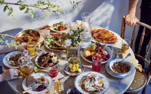 Breakfast table laden with dishes from Sumac cookbook