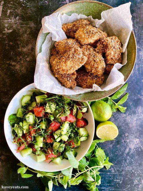 Buttermilk chicken and sour watermelon salad