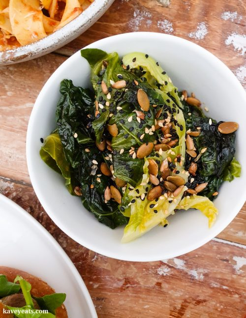 Roasted greens and sesame