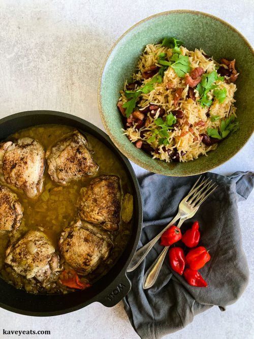 Chicken Fricassée with Rice and Beans