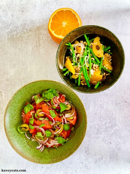 Aeolian-style tomato salad and Chilled green beans