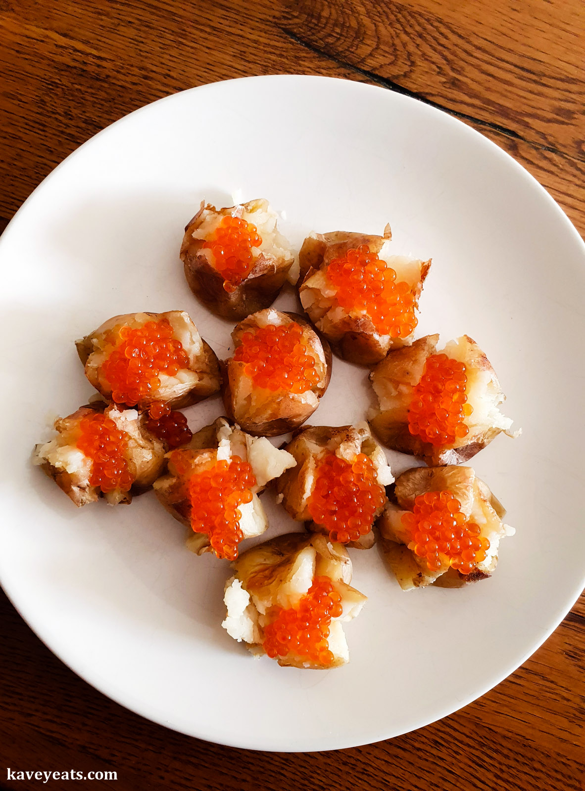 Baked New Potatoes with Butter and Salmon Trout Roe