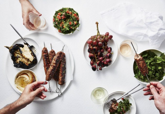 Tuna Kofta with BBQ Grapes and Sour Garlic Sauce